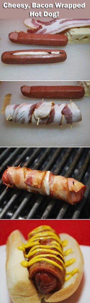 Bacon wrapped hot dogs #recipes