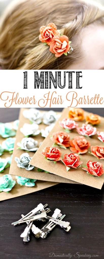 1 Minute flower hair barrette #DIY