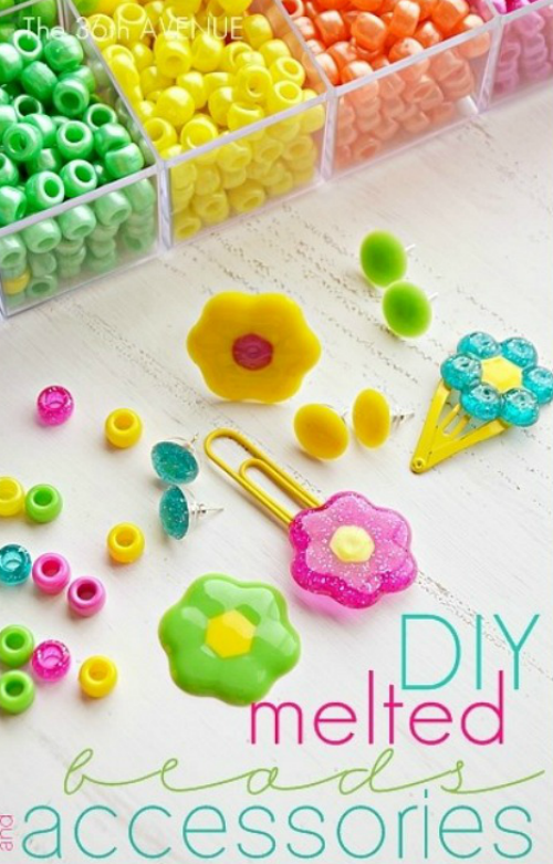 Melted beads make the prettiest #DIY hair accessories for #kids
