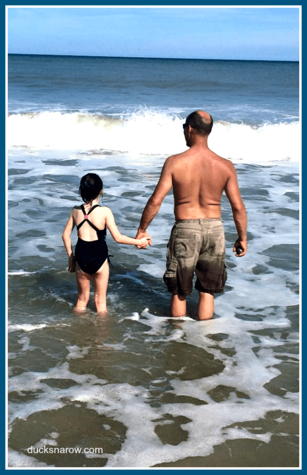 Family caregiving is a pleasure! Daddy and daughter day at the beach.