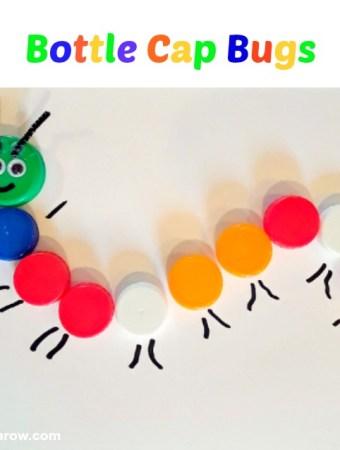 Preschool sorting activity with bottle caps