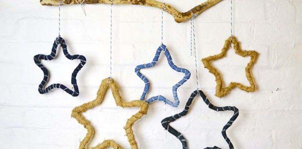 DIY Denim Burlap Rustic Stars by Pillarbox Blue