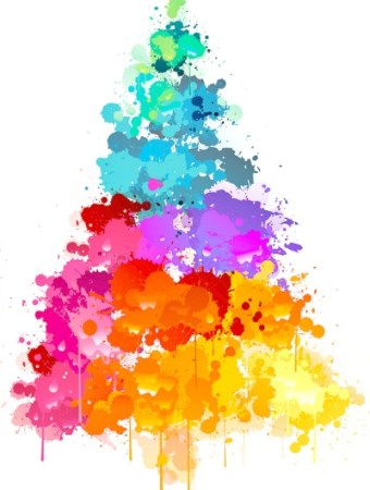 Christmas tree in brilliant colors of paint
