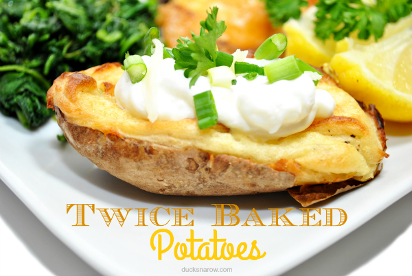 Delicious twice baked potato with sour cream topping