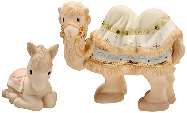 Camel and donkey Precious Moments figurines for a Christmas Nativity Scene
