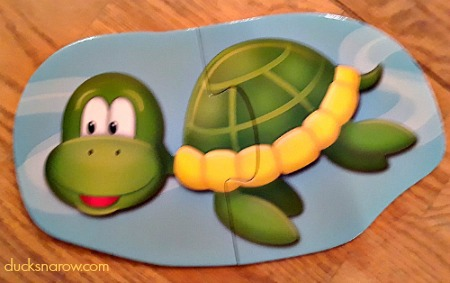 Two piece puzzle depicting a sea turtle #kids