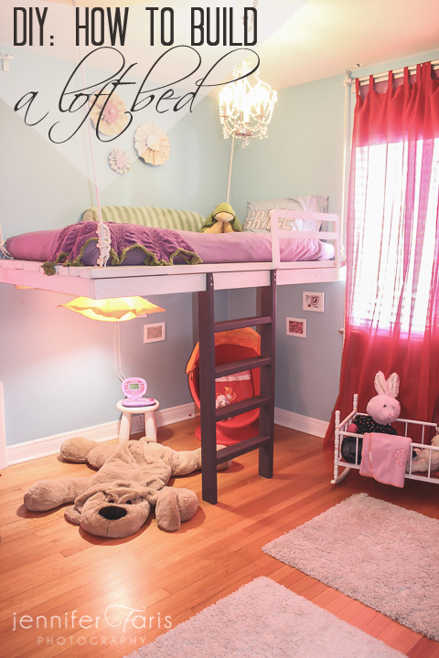 Loft bed with reading nook for little girls