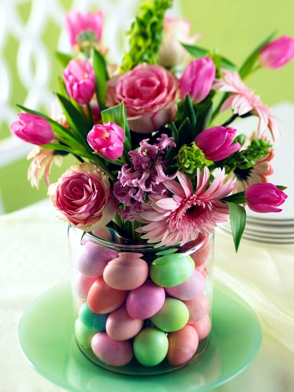 Colorful Easter Eggs in a Vase
