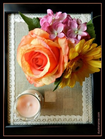 Beautiful DIY picture frame tray covered in burlap and lace #crafts