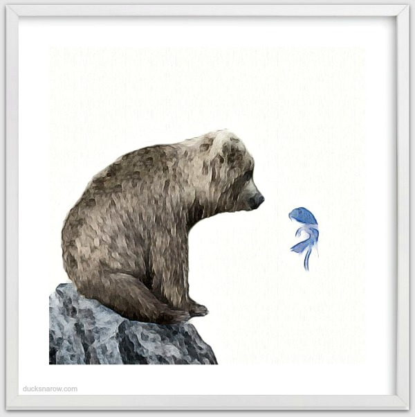 Cute bear looking longingly at a fish and vice versa in this piece entitled Blue Fish Wish from Minted #ad