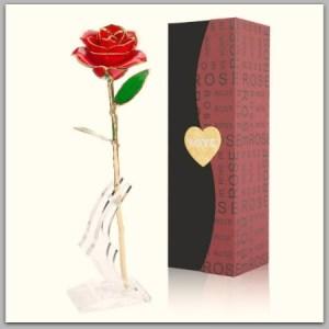 Gold dipped rose keepsake for moms #ad