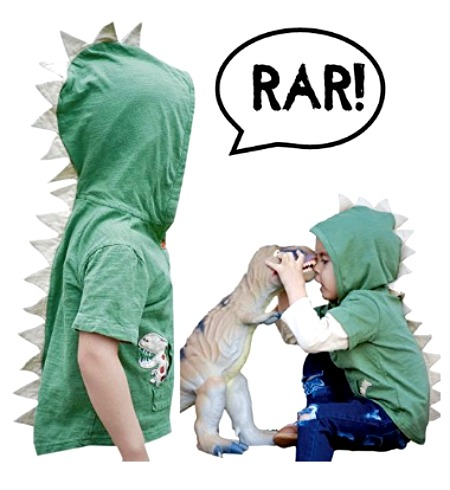 T-Rex dinosaur hoodie with removable sleeves for kids up to 8T #affiliate
