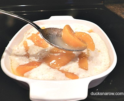 Peach cobbler preparation for oven #desserts