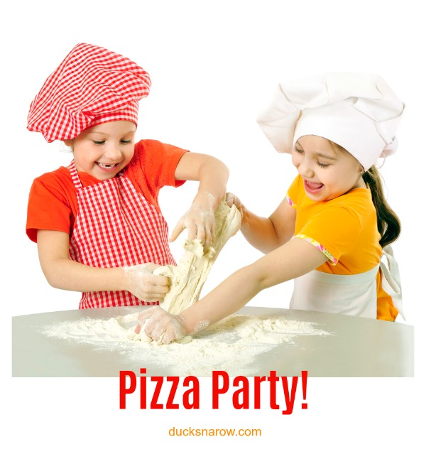 Pizza parties for kids where they MAKE the pizza - chef hats and all! #kids