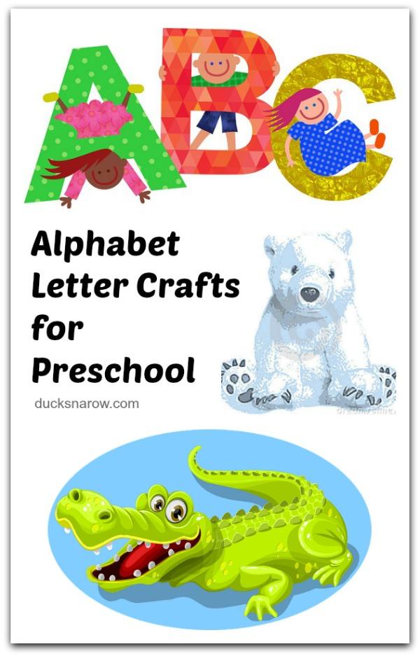 Crafts for every letter of the alphabet for #DucksnaRow #preschool #kidscrafts #alphabetthemes #lettercraftsforpreschool