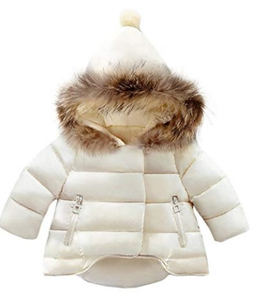 Adorable beige winter jacket for babies with fur trimmed hood #ad