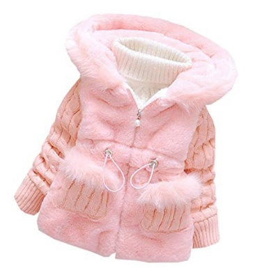 Furry pink jacket for baby girls #ad