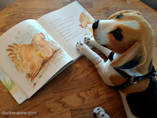 Plush toy dog Gilbert reads a book in #preschool