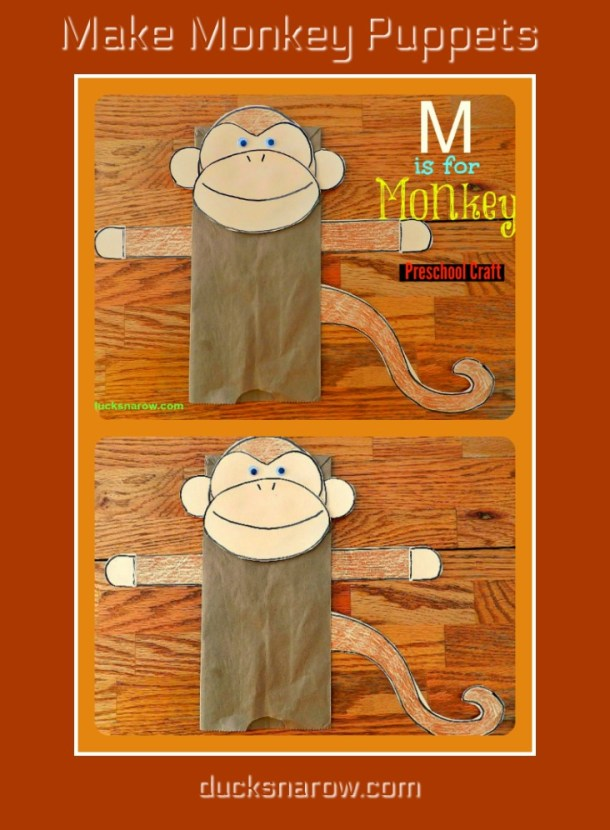 How to make monkey puppets out of paper bags #preschool