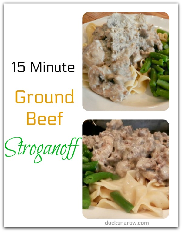 15 minute ground beef stroganoff recipe #easydinners