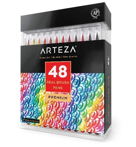 48 real brush watercolor pens for water color painting, calligraphy and coloring #watercolor #ad