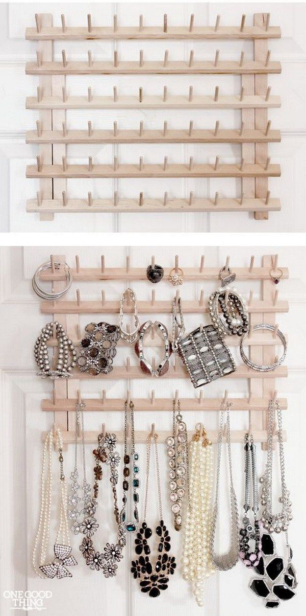 Thread rack becomes jewelry organizer #organizing