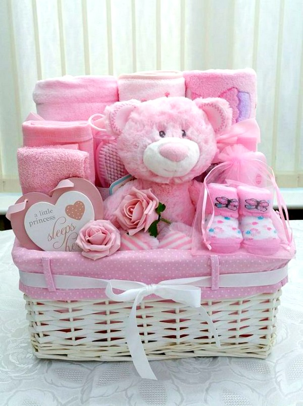 Baby girl shower gift basket #babygift