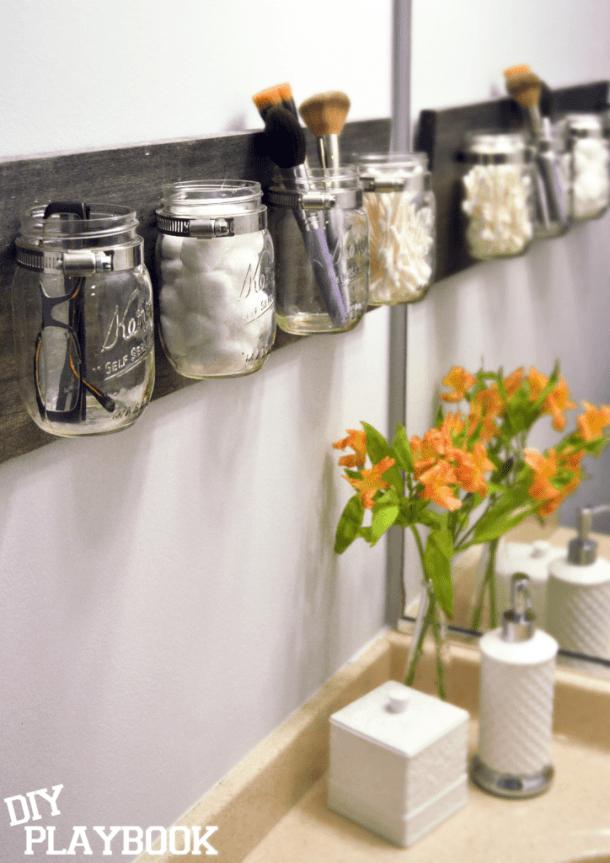 DIY mason jar organizer #organizing