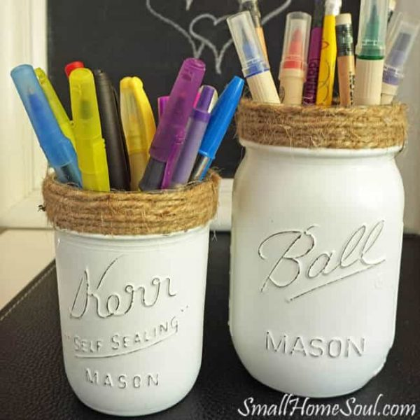 Do it yourself Mason Jar pencil holder #gifts