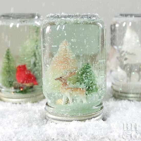 How to make Mason Jar Snow Globes from BHG