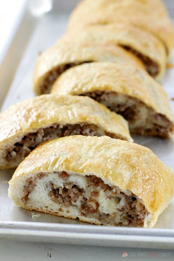 Sausage bread from Love Bakes Good Cakes #appetizers