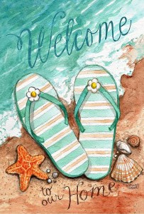 Flip flops welcome flag for the garden #ad