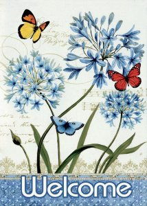 Blue welcome sign with butterflies #ad