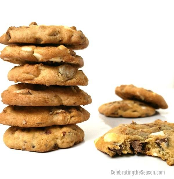 Triple chocolate chunk honey pecan cookies