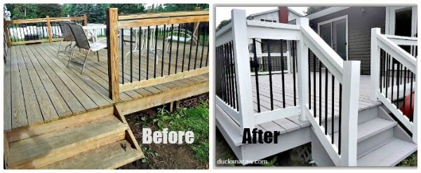 Before and after photos of deck redo #DIY #homeimprovement