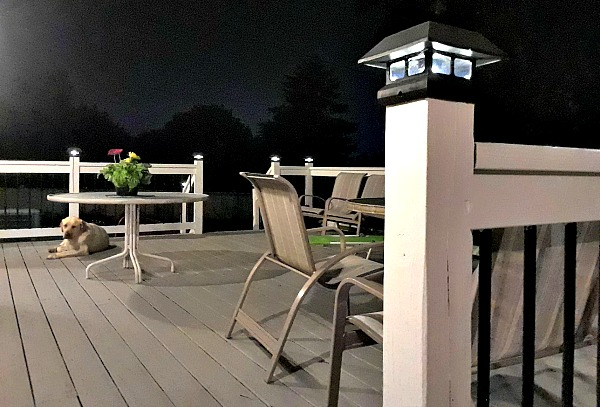 Newly stained deck at night with pretty solar lights #deck #DIY