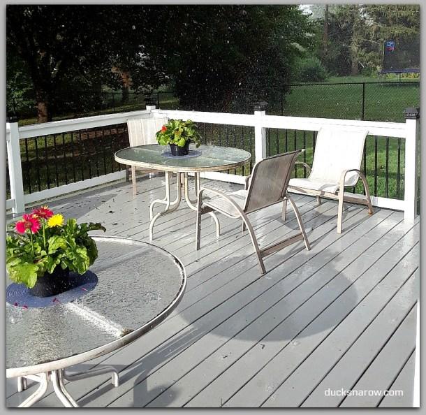 Rain coming down on the deck #DIY