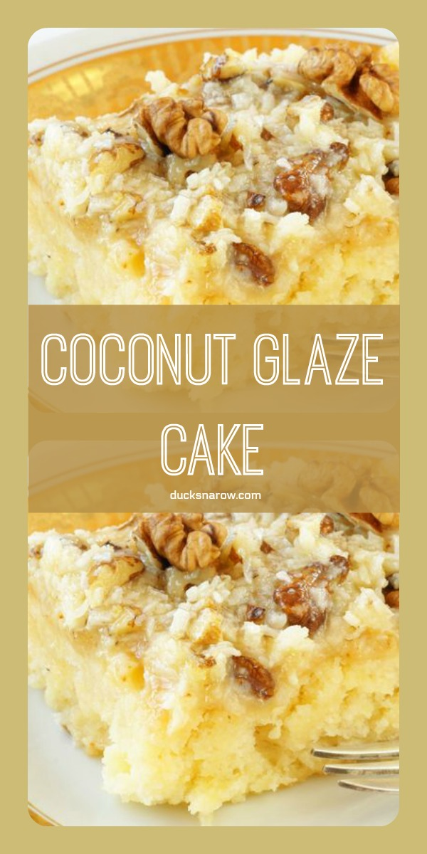 Coconut walnut glaze cake #recipe
