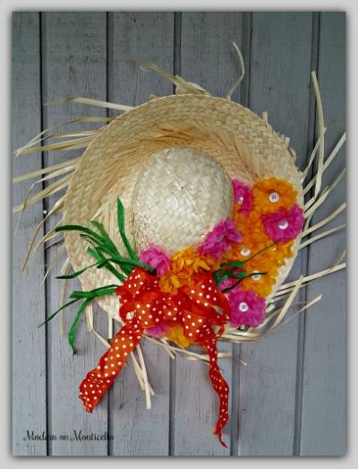 DIY straw hat wreath by Modern in Monticello