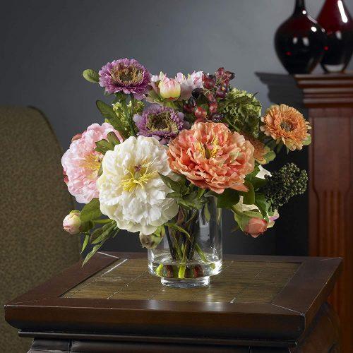 Silk peony centerpiece in vase #ad