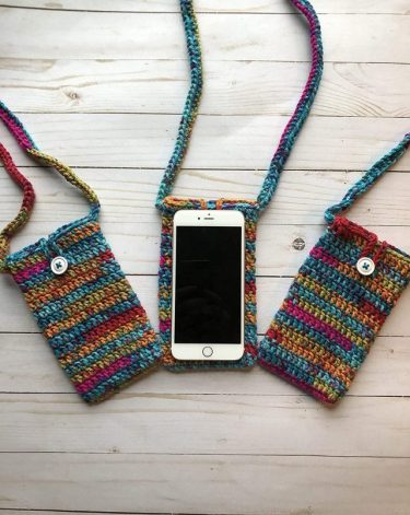 Handmade crocheted cell phone purses #ad #crochet