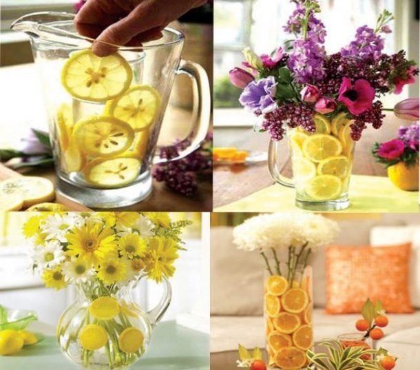 DIY centerpieces with fresh fruit and flowers.