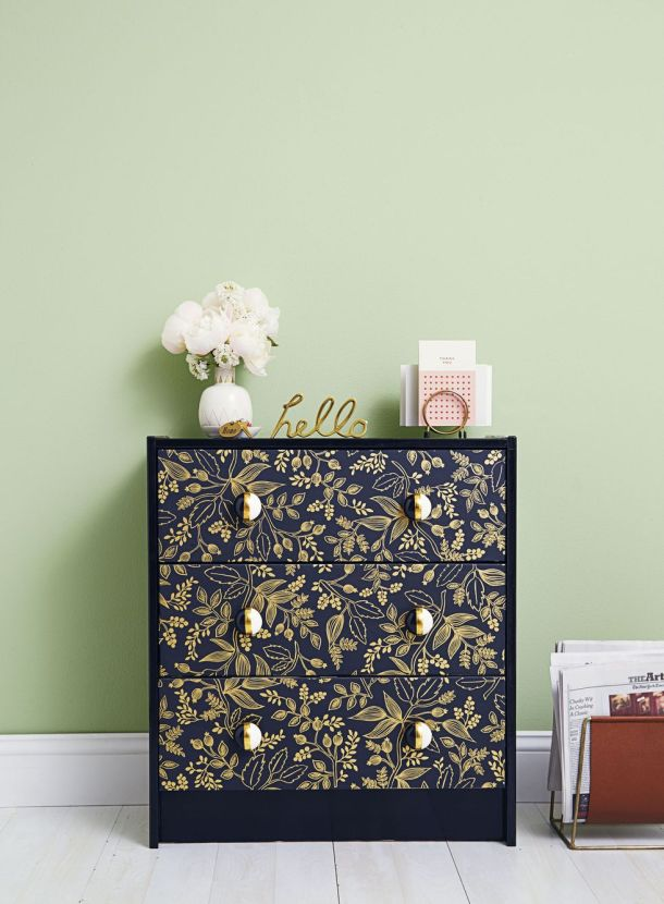 Good Housekeeping featured a wallpaper redo for a chest of drawers