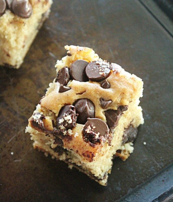 Peanut Butter Chocolate Chip Snack Cake from Our Table For Seven