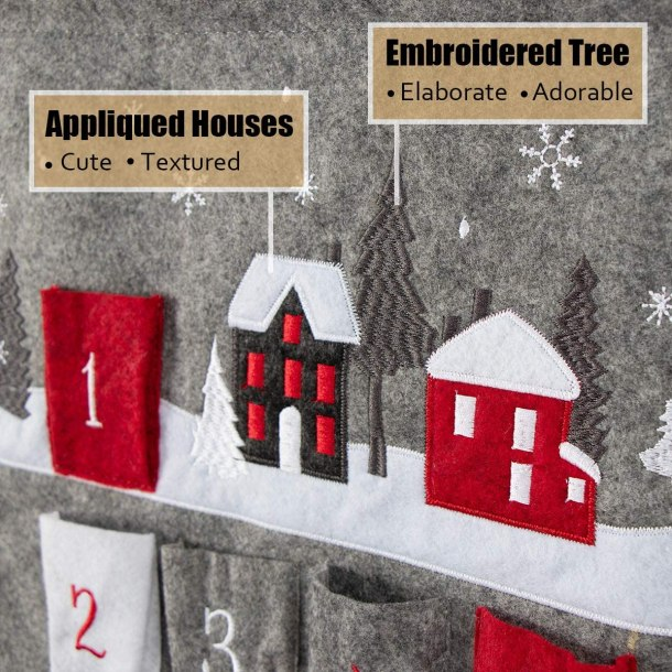 Felt, embroidered advent calendar for the Christmas holiday season #ad