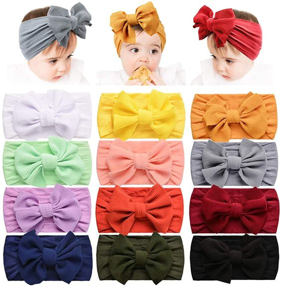 Headbands with bows for babies and toddlers #ad