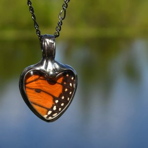 Handmade ethically sourced butterfly wing necklace