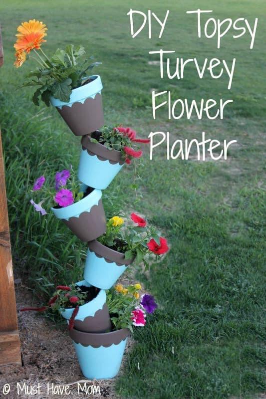 Topsy turvy flower pot DIY planter