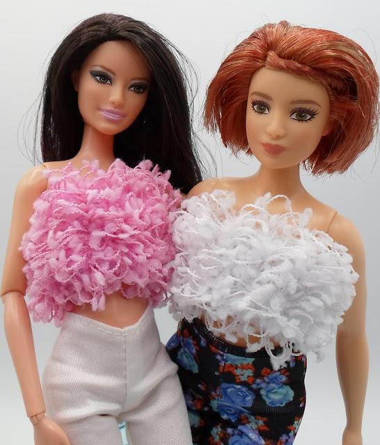 Dollar store pony tail holder tube tops for Barbie dolls