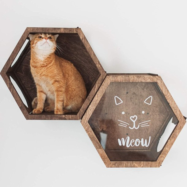 Rustic wall mounted cat bed with steps